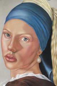 Scarlett e l'orecchino di perla - pastello su sennelier paper 70x50