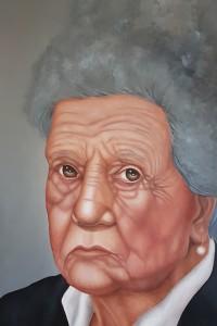 Lost in the fog - portrait of a mother - olio su tela 100x50