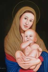 Mother and son - olio su tavola 60x50